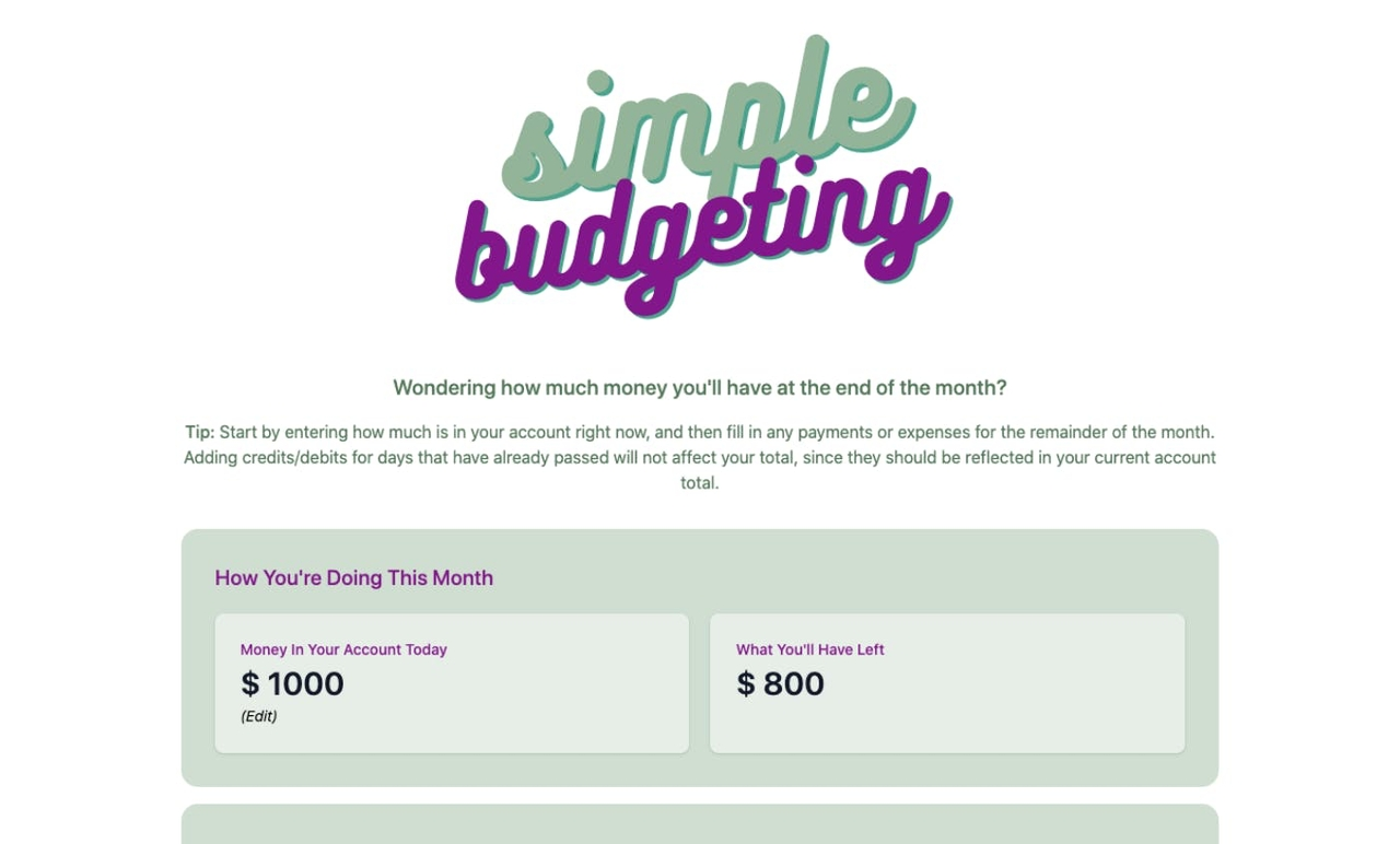 Cover Image for Simple Budgeting App